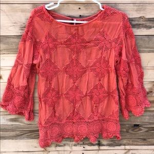 Free People | Red Coral Crochet Knit Top Small